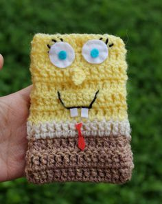 Items similar to Crochet SpongeBob Mobile Cover on Etsy Crochet Case, Mobile Covers, Mobile Phone Cases, Mobile Accessories, Chrochet, Knitted Bags, Spongebob, Projects To Try, Crafty
