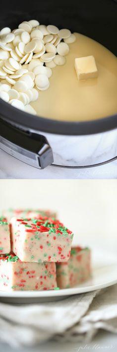 White Chocolate Fudge Foolproof Crock Pot slow cooker fudge recipe – just 3 ingredients, stir and allow to set. Making fudge has never been easier! Fudge Recipes, Candy Recipes, Sweet Recipes, Dessert Recipes, Crockpot Recipes, Trifle Desserts, Bar Recipes, Dessert Ideas, Cooker Recipes
