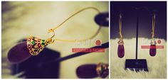Simple & elegant - Ruby colored teardrop with enamel detail on cap and long hooks http://on.fb.me/1jUptGm