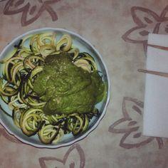 Zucchini noodles with raw vegan pesto! Yum! #zoodles #govegan #rawvegan #801010 #pesto #cleaneating #vegan #whatveganseat #vegansofig #rawtill4