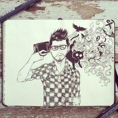 #54 Selfie #art #drawing #illustration #design #graphicdesign #moleskine #doodle #sketchbook #sketch #anime #manga #boy #selfie #selfportrait #black #cat #birthday #clock #brazilian #artist #_picolo by _picolo