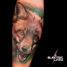 Somehow I forgot to post this fox I made a few weeks ago it's the start of a hunting themed sleeve.  #foxtattoo #fox #realistictattoo #animaltattoo #portrait #oslo #norway #tatovering #tattoo