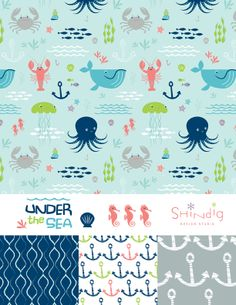 Shannon Hays / Shindig Design Studio textile octopus whale crab jellyfish #pattern #patterns aquatic beach