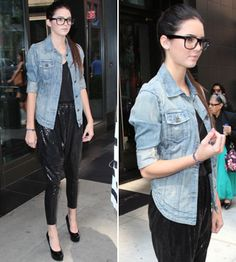Kendall Jenner pairs black sequin harem pants with denim Jacket!