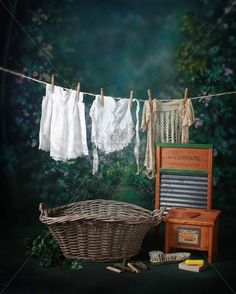 Girl Laundry Basket Digital Backdrop & Layered Background for Babies! - Baby Photo Backdrops
