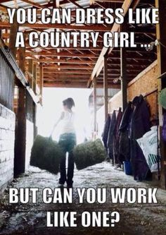 Hahahaha funny how people can all the sudden be country ! But umm... let me see YOU bailing some hay cleaning some stall driving a tractor !! HOE SET DOWN