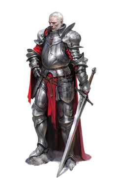 Old Human Fighter Knight - Pathfinder PFRPG DND D&D 3.5 5th ed d20 fantasy