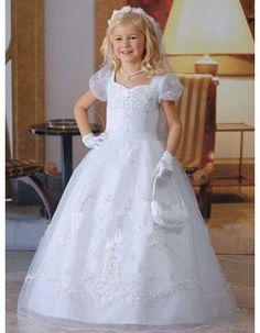 Classic White Bubble Skirt First Communion Dresses/ Toddler Cap Sleeves Full Length Flower Girl Dresses
