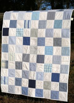 New memory quilting ideas squares Ideas Blue Quilts, Scrappy Quilts, Easy Quilts, Denim Quilts, Patchwork Jeans, Plaid Quilt, Striped Quilt, Quilt Baby, Baby Quilts For Boys