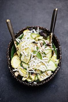 shaved summer squash salad with basil & ricotta salata, elizabeth ...