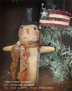 Primitive Americana snowman epattern - Liberty Creek Primitives patterns
