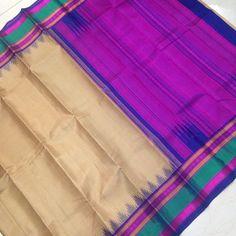 Buy KSS8700029-THAMBOORI's handwoven korvai kanjeevaram silk-Beige pink blue, 900g online - Handwoven Kanchivarams,Soft Silks, Silk Cottons and Tussars!