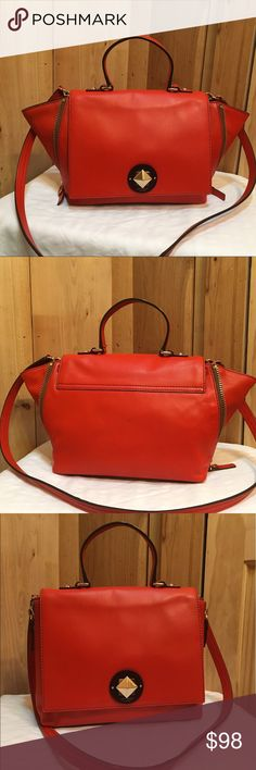 """♠️Kate Spade♠️Virick Street Abbie(Tangerino color) ♠️Kate Spade♠️Varick Street Abbie ( Tangerino Color)  Good conditions and lightly used.Soft smooth cowhide leather.Satchel with lock closure and removable strap.Expandable zipper gusset at the side,the zip can be opened up or a flared silhouette.All zip work well.Inside lining is clean,has 1 pen mark as seen in the pictures.Came from a smoke free and pet free home.I'm willing to negotiate through the offer button.  Size: 11.1"""" W x 9.6"""" H x…"""