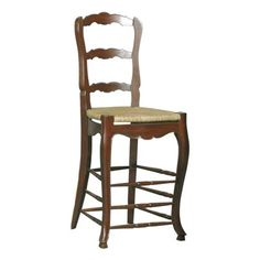 """30"""" Ladderback BarstoolAdapted from our best selling dining chair. Solid mahogany country French ladderback counter stool.Rush seat hand woven onto frameShaped back and seat rails with cabriole leg terminating in block footThis typical provincial chair features hand shaping and hand carved beading"""