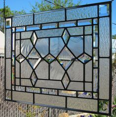 Beveled Double Diamonds Stained Glass Window by DebsGlassArt, $200.00