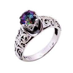 Natural Mystic Topaz Gemstone Ring 925 Sterling Silver Wedding Engagement Gift #Handmade #Filigiri #Wedding