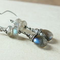 Labradorite  Earrings    Oxidized Silver    Wire Jewelry by hildes, $49.00