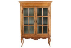 "OneKingsLane.com | As described by Kimberly & Darrell Lynn:  French oak cabinet with glass front doors, faux-silk fabric covered interior with two shelves, brass hardware, working lock with one key, and cabriole legs | 50.5""w x 18""d x 71""h 