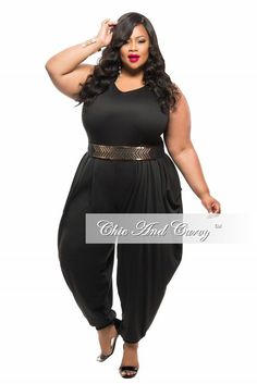 3de1724e35c9b Final Sale Plus Size Jumpsuit with Harem Pants in Black