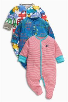 Next Multi Car All-Over Print Sleepsuits Three Pack (0mths-2yrs) £16.50