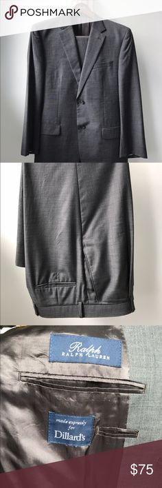 42R Ralph Lauren Men's Suit Sophisticated two piece suit. Jacket and pants are a modern grey color. Ready for your next job interview or wedding reception. Happy to provide measurements if requested. Ralph Lauren Suits & Blazers Suits