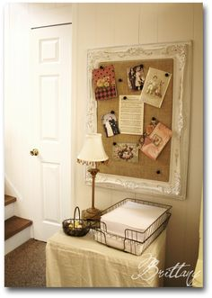 Thrifted painting, chippy paint on frame, corkboard over canvas, covered in burlap - CUTE memo board! Rustic yet fine. Vintage.