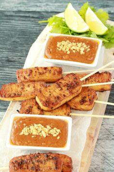 Crispy bakes tofu satay with spicy peanut sauce. Omg!