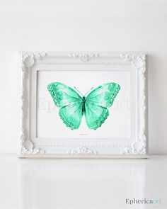 Mint green Butterfly wall art PRINTABLE decor by EphericaArt