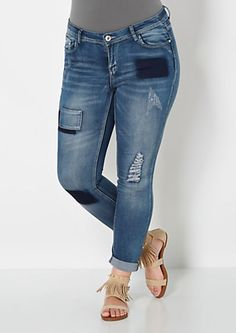 image of Plus Patchwork Cropped Skinny Jean
