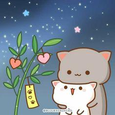 Cute Images, Mochi, Cute Cartoon, Hello Kitty, Cartoons, Gifs, Peach, Japan, Animals