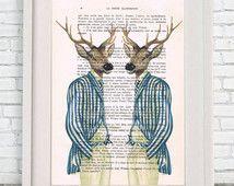 Cool Deer Print, Stripy Stags, Antler, Animal Portrait, Wall hanging, Wall Art Prints, deer illustration, deer painting, Deer Artwork
