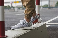 adidas NMD R2 Primeknit in White, Grey & Red - EU Kicks: Sneaker Magazine