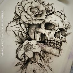 Skull Art Tattoo Drawing Beautiful Ideas For 2019 Kunst Tattoos, Bild Tattoos, Leg Tattoos, Flower Tattoos, Body Art Tattoos, Sleeve Tattoos, Tattos, Floral Skull Tattoos, Skull Tattoo Design