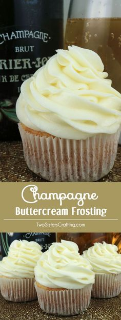 Champagne Buttercream Frosting - a creamy buttercream frosting infused a hint of champagne flavor. A great choice for when you need a special occasion treat or dessert for New Year's Eve, Christmas or Valentine's Day. This yummy homemade butter cream frosting will take your cake and cupcakes to the next level, we promise! Pin this tasty Champagne Icing for later and follow us for more great Frosting Recipes! #Frosting #ChampagneFrosting #Icing #Buttercream #ButtercreamFrosting…