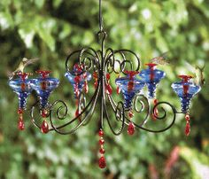 Amazing hummingbird feeder chandelier, available at Hummingbirds Forever