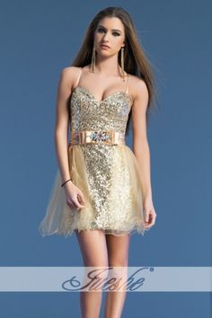 Sequined Champagne Sweetheart Homecoming Dress with Spaghetti Strap JSDJ0009
