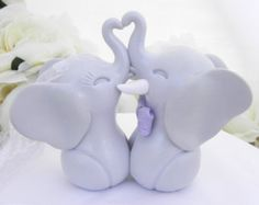 Wedding Cake Topper Elephants in Love Grey and Shades by LavaGifts