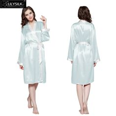 Lilysilk Mulberry Silk Women Long Bride Robe 22 Momme Plain Long Sleeve Waistband Reverse Trim Satin Sleepwear Summer Fashion * Read more at the image link.