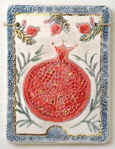 Pomegranate ~ hand made wall plaque by artinclay2011 on Etsy
