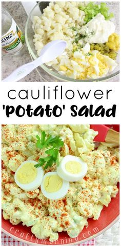 Mock Cauliflower 'potato' salad...the perfect summer BBQ side dish on the keto diet. Ketogenic diet/low carb potato salad. Homemade classic potato salad recipe.