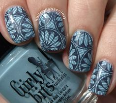 I love this double-stamped design & the moody colors! | Nail Polish Society: Double Stamp All The Nails