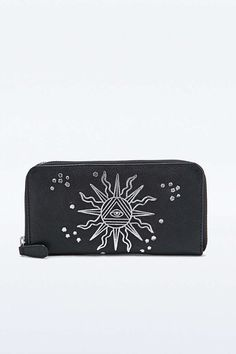 Black Leather Sun Wallet - Urban Outfitters