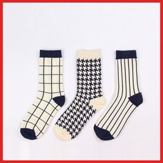 [Fun] cotton socks a simple striped blue and white squares Houndstooth socks - Taobao