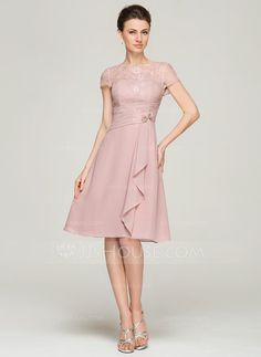A-Line/Princess Scoop Neck Knee-Length Chiffon Lace Mother of the Bride Dress With Beading Flower(s) (008062576) - JJsHouse