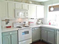 Love! DIY. Paint cabinets without needing to replace current countertops.