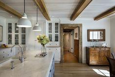 Love this so much -- white & gray farmhouse kitchen