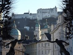 Festung Hohensalzburg and the Altstadt from Mirabellgarten Austria, Louvre, Mansions, House Styles, City, Building, Places, Summer, Travel