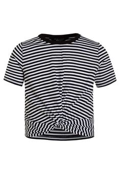 9a5a82bb84a83 RINGER STRIPE TWIST FRONT TEE - T-shirts print - white