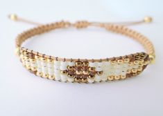 Mixed Beaded Macrame Bracelet Golden Tones by MaisJewelry on Etsy - Bracelets Jewelry Macrame Bracelet Patterns, Bead Loom Bracelets, Macrame Bracelets, Jewelry Patterns, Bead Embroidery Jewelry, Beaded Jewelry, Loom Beading, Metal Beads, Friendship Bracelets