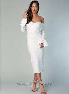 f19fdb2893 A gorgeous midi dress by Pasduchas. Featuring an off shoulder neckline  with. whiterunway.com